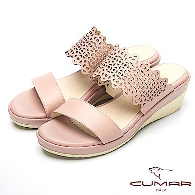 CUMAR真皮特殊簍空設計厚底台涼鞋-粉紅