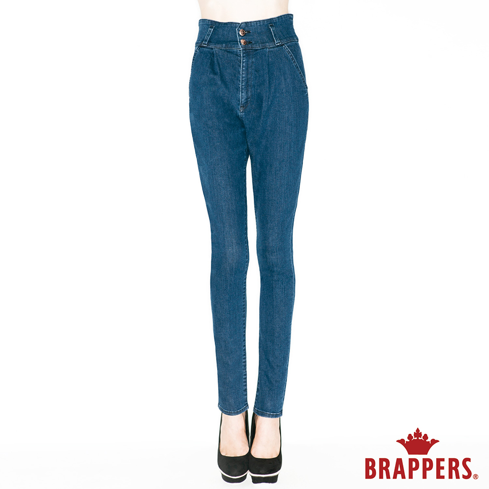 BRAPPERS 女款 Boy Friend美尻系列-彈性高腰窄管褲-藍