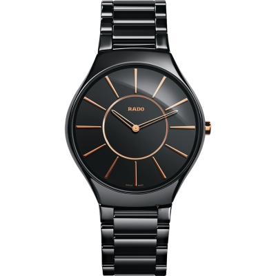 RADO雷達 真薄系列陶瓷石英錶(R27741152)-黑/39mm