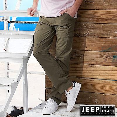 JEEP 時尚造型口袋工作長褲 -深卡其