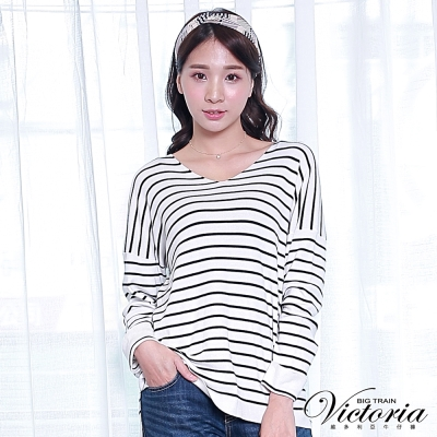 Victoria V領落間長袖線衫-女-黑白條紋