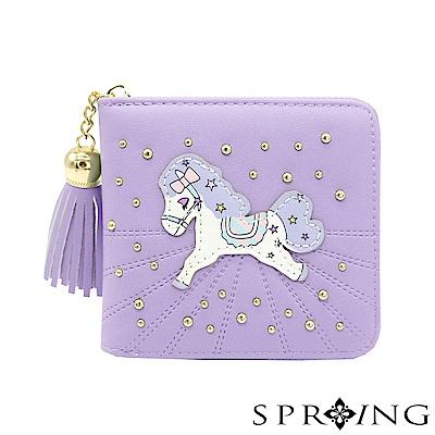 SPRING-夢幻彩虹pony拉鍊短夾-薰衣草紫