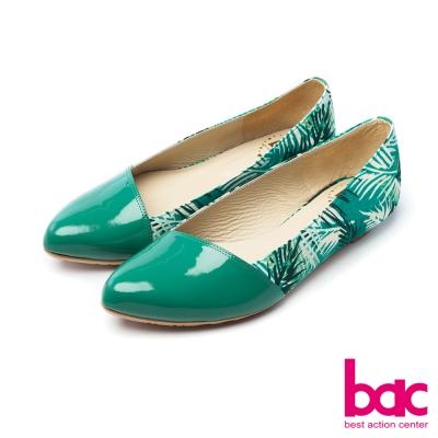 bac甜美履行夏日印花異材質拼接尖頭低跟鞋綠