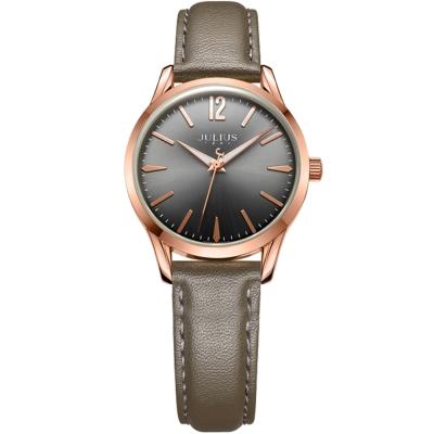 JULIUS 聚利時 微星綻耀彎針設計皮帶腕錶-灰墨綠/30mm