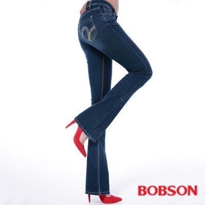 BOBSON 女款亮鑽超彈力小喇叭褲