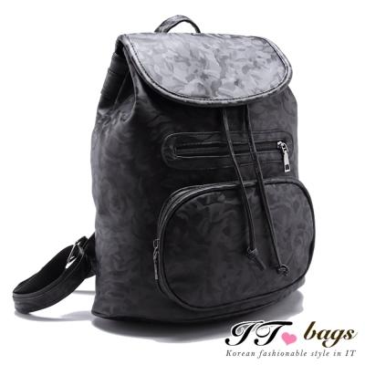 It Bags 後背包遠方旅程黑迷彩尼龍後背包 共一色