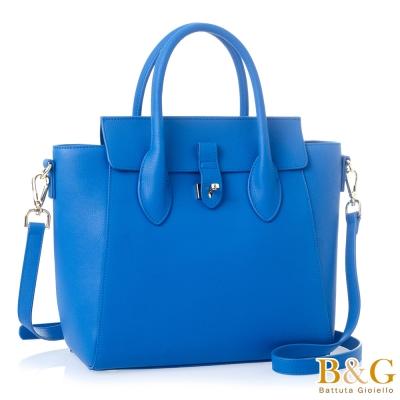 B&G 二用包 義大利牛皮綺麗思金釦設計系列(寶石藍)