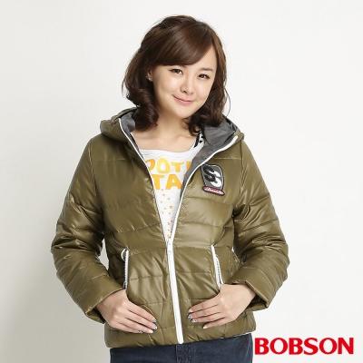 BOBSON 女款連帽羽絨外套(草綠40)