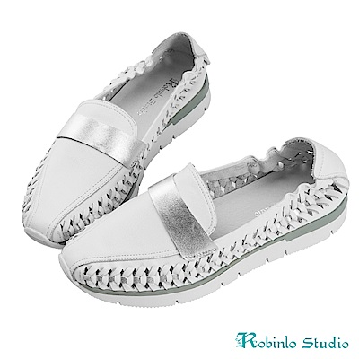 Robinlo Studio 特色編織柔軟牛皮平底休閒鞋 白色