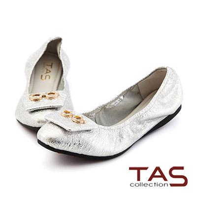 TAS 水鑽小眼鏡抓皺娃娃鞋-焦點銀
