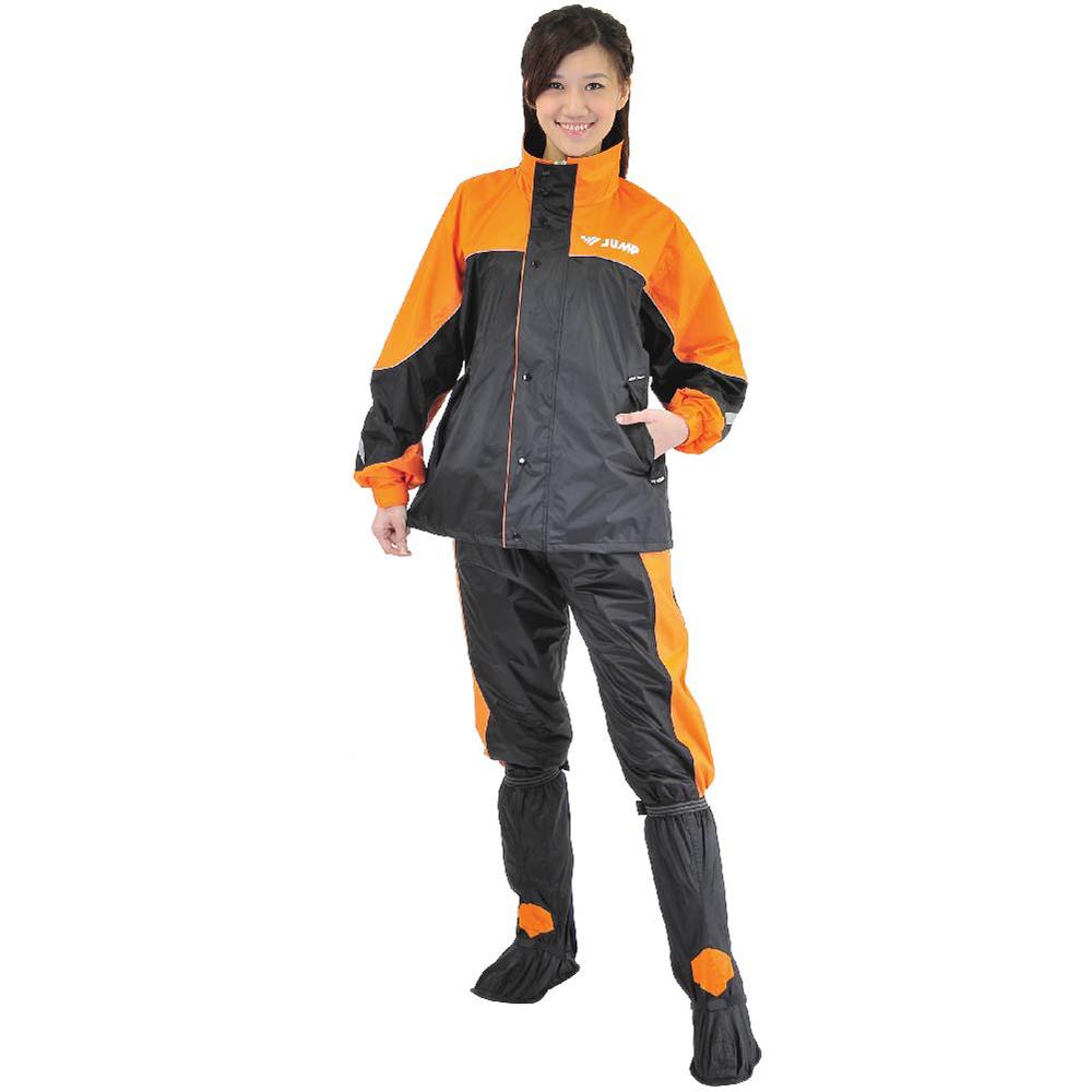 JUMP 將門 TV2配色內裡口袋反光套裝兩件式雨衣(M~4XL>加大尺寸)黑橘