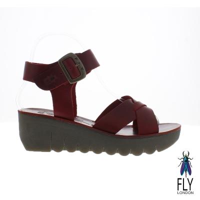 Fly London(女) Yeri 全彩交叉線踝扣真皮造型楔型涼鞋 - 酒紅