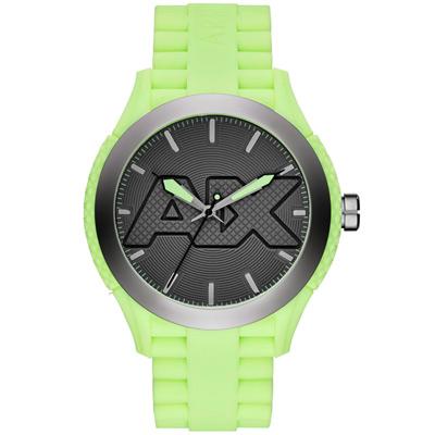 A|X Armani Exchange 玩味色調潮流時尚腕錶-灰x螢光綠/47mm