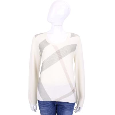 BURBERRY 米白色格紋羊毛喀什米爾長袖針織衫(87%WOOL)