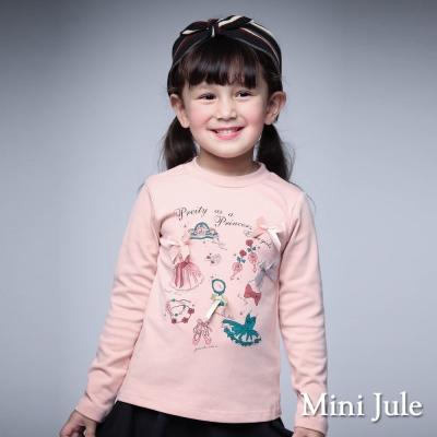 Mini Jule 童裝-上衣 禮服皇冠舞鞋印花長袖棉T(粉)