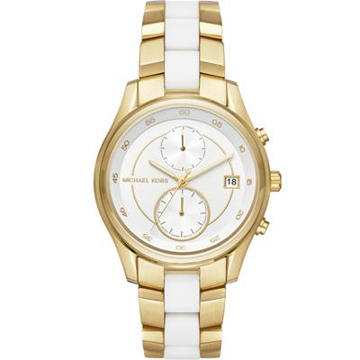 Michael Kors MK 雙時區時尚腕錶-白x金色/40mm