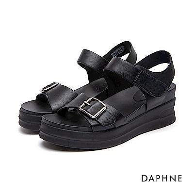 達芙妮DAPHNE 休閒鞋-皮帶扣魔鬼氈Y型繫帶休閒鞋-黑