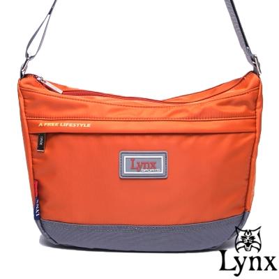 Lynx - 山貓城市悠遊款輕便質感馬鞍式側背包-橘紅