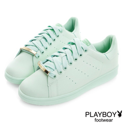 PLAYBOY 純色經典 金屬飾釦簡約休閒鞋-綠(女)
