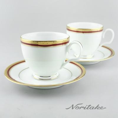 Noritake 華漾風華咖啡對杯(金邊紅色)