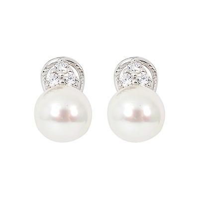 Majorica西班牙珠寶 珍珠鑲鑽耳環 銀色