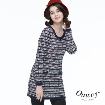 OUWEY歐薇-花紗織紋長版毛衣-藍