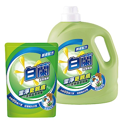 白蘭 濃縮洗衣精超值1+6組_蘆薈親膚(2.7kg x 1瓶+1.6kg x 6包)