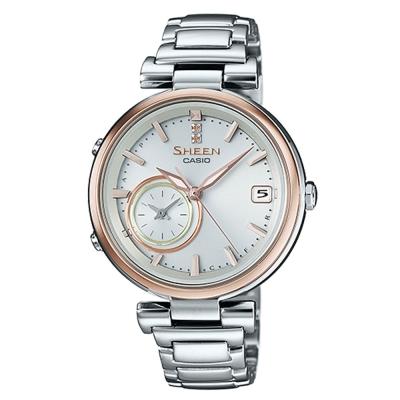 SHEEN 雅典娜之美藍芽傳輸太陽能日曆腕錶(SHB-100SG-7A)金框/35mm