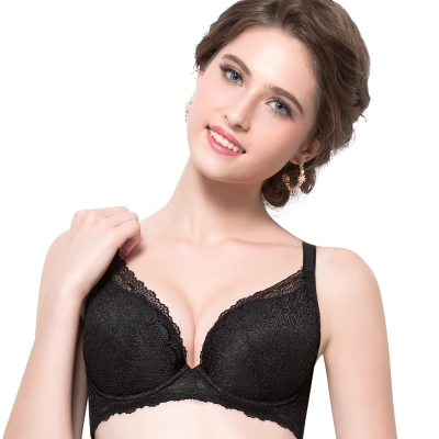 思薇爾 香戀系列B-E罩蕾絲包覆內衣(黑色)