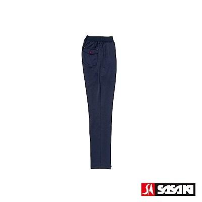 SASAKI 吸濕排汗功能伸縮針織運動長褲(直筒)-女-丈青/桃紅