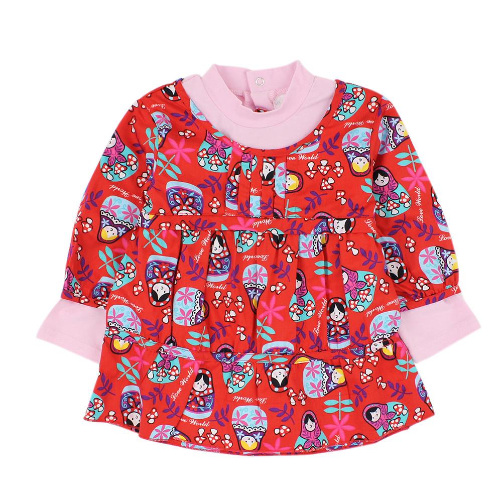 愛的世界 俄羅斯娃娃假兩件長袖洋裝上衣/2~4歲
