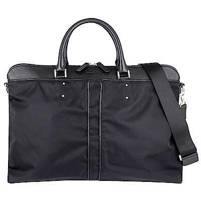 agnes b. voyage 黑色尼龍皮革提把飾邊提背兩用公事包