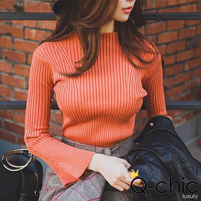 正韓 喇叭袖設計拼接坑條針織毛衣 (共四色)-Q-chic