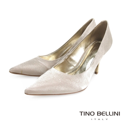 Tino-Bellini-巴西迷人傾心緞面跟鞋-珠光白