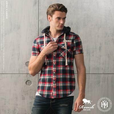 ROUSH 美式可拆式連帽貼布格紋襯衫 (3色)