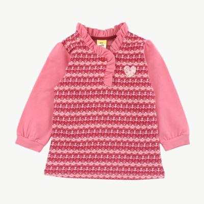 愛的世界 MYBABY 針織假兩件左衽長袖上衣/2~4歲