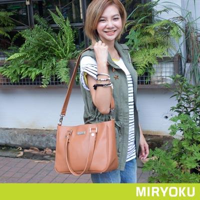MIRYOKU-質感斜紋系列-輕巧可愛簡潔兩用包-駝