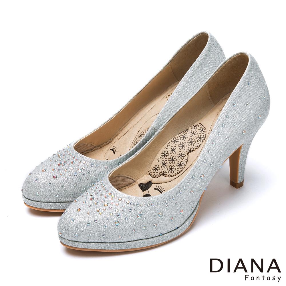 DIANA 超厚切LADY款--奢華時尚金蔥耀眼水鑽跟鞋-銀