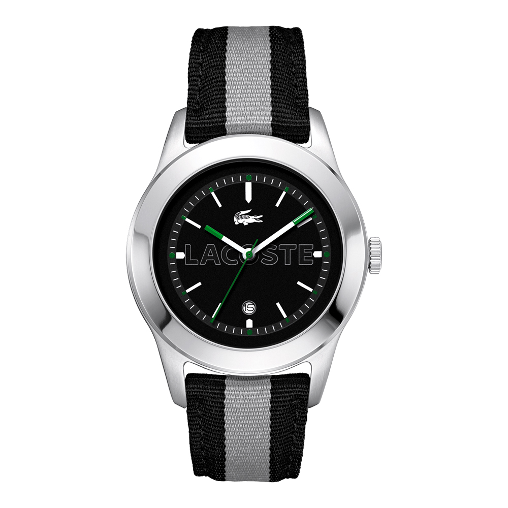 Lacoste 鱷魚 運動風雙色中性腕錶-黑灰/42mm