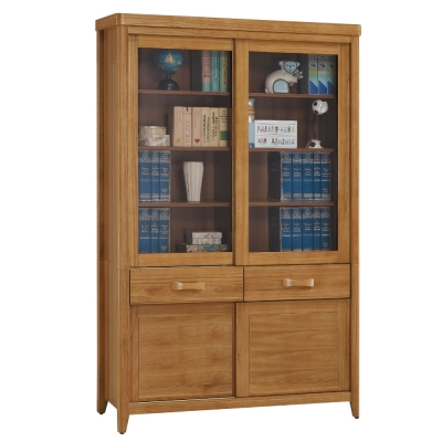 品家居 克莉絲蒂4尺柚木推門中抽書櫃