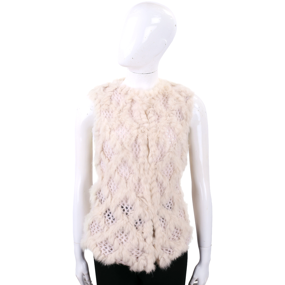 PINKO 粉裸菱格兔毛拼接羊毛針織背心