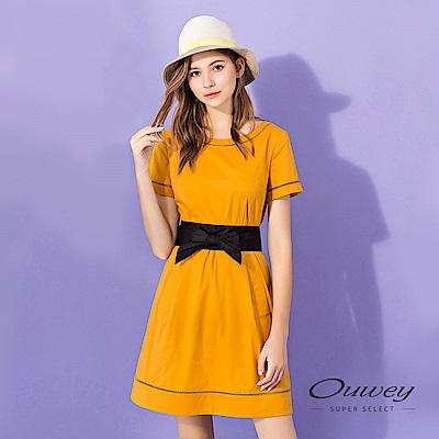 OUWEY歐薇 織帶剪接修身棉質洋裝(黃)
