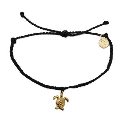 Pura Vida 美國手工 金色海龜  黑色臘線可調式手鍊衝浪海灘防水手繩