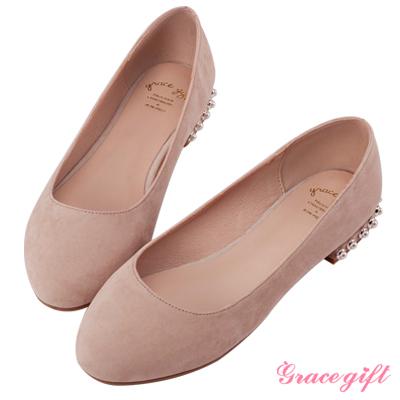 Grace gift-珍珠飾小圓頭娃娃平底鞋 杏