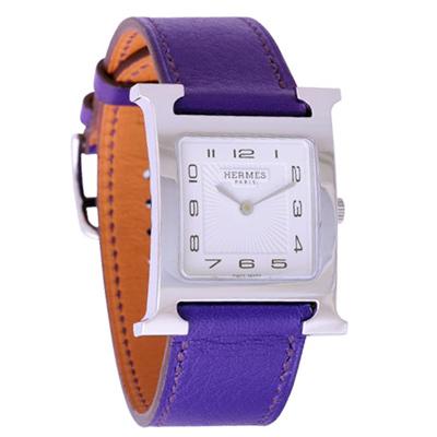 HERMES H-OUR 系列經典時尚腕錶-白x紫錶帶/25*35mm