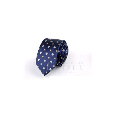 拉福,小花窄版領帶手打領帶 (藍底)