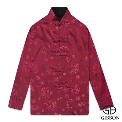 GIBBON 雙面錦緞喜慶圖騰長袖唐裝‧紅黑M~3L
