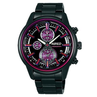 WIRED 城市光影炫紫設計腕錶(AF8T23X1)-黑x紫/43mm