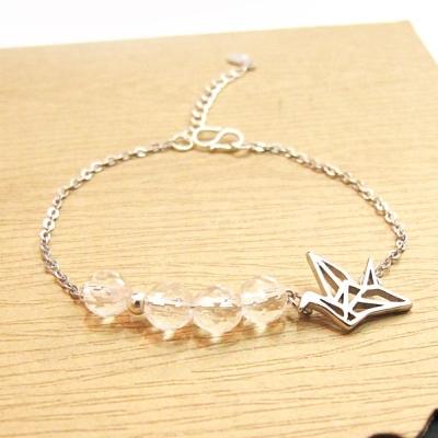 Hera-925純銀手作飛翔鴿子天然白水晶手鍊
