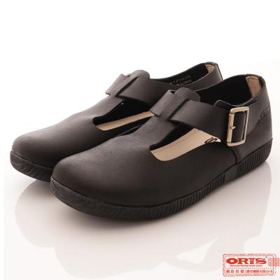 ORIS 女款 純牛皮 經典簡約圓頭 娃娃鞋 休閒鞋~黑